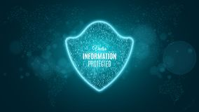 Information is protected. Blue glowing neon shield made of binary code. Neon banner. The system is protected. Sci-fi and hi-tech. Royalty Free Stock Photos