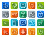 Information protection, contour icons, colored, flat. Royalty Free Stock Image