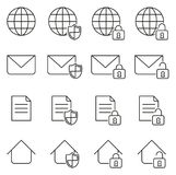 Information Protection & Information Security Icons Thin Line Vector Illustration Set. This image is a vector illustration and can be scaled to any size without Royalty Free Stock Images