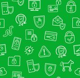 Information protection, seamless background, green, flat. Royalty Free Stock Images