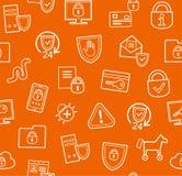 Information protection, seamless pattern, orange, flat. Royalty Free Stock Photo