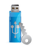 Information protection. Usb flash memory and key Stock Illustration