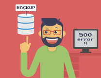 Information recovery and data backup. Happy programmer has got server backup after system crash. Text outlined stock illustration
