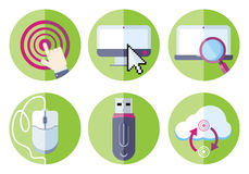 Information resource devices icon set Royalty Free Stock Photo