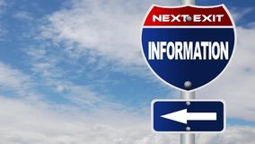 Information road sign with flowing clouds stock video