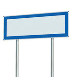 Information Road Sign Isolated, Blank Empty Signpost Copy Space For Icons, Pictograms, Large Roadside Info Signage Pole Post Stock Photography