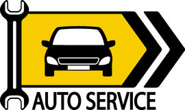 Sign with car, wrench and arrow Royalty Free Stock Image