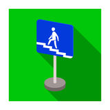 Information road signs icon in flat style isolated on white background. Road signs symbol. Royalty Free Stock Photography