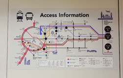 Information route map at JR station in Tokyo, Japan. Stock Photos