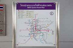 Information route map pole of Mass Rapid Transit Authority of Th. Ailand MRTA or MRT Purple Line for people use on September 14, 2016 in Nonthaburi, Thailand Royalty Free Stock Photography