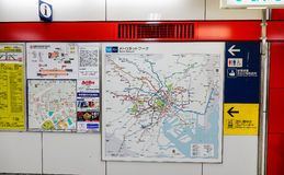 Information route map pole of subway. Tokyo, Japan - Jan 3, 2016. Information route map pole of subway at JR train station in Tokyo, Japan Stock Photo