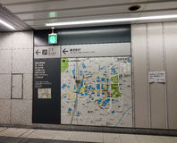Information route map pole of subway. Tokyo, Japan - Jan 3, 2016. Information route map pole of subway at Shinjuku train station in Tokyo, Japan Royalty Free Stock Image