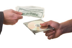 Information sale. Two men changing information on CD for money Stock Photo