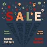 Information about the sale. Information about the sale of fireworks on the background. Vector illustration Royalty Free Stock Image