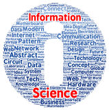 Information science word cloud shape Royalty Free Stock Photo