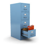 Information search. 3d illustration of searching folder in drawer Stock Image