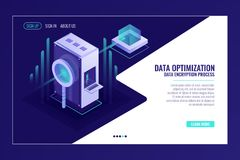 Information search data optimization concept, server room, magnifying glass, bigdata flow isometric. Vector stock illustration