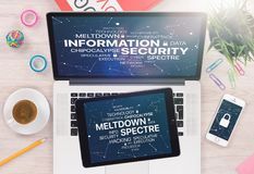 Information security concept with Meltdown and Spectre threat on laptop tablet and smartphone screens. Information security concept with Meltdown and Spectre Royalty Free Stock Image
