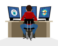 Information security expert. Vector illustration of a information security expert Stock Photos