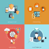 Information Security Flat. Information security design concept set with protection reliability security and confidence flat icons isolated vector illustration Royalty Free Stock Photos