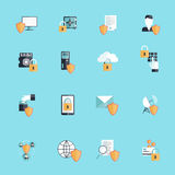 Information Security Icon Flat. Information security online data secure transfer and hosting icon flat set isolated vector illustration Stock Photography