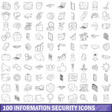 100 information security icons set, outline style Stock Photography