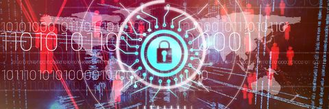 Composite image of information security logo. Information security logo against composite image of illustration of virtual data Royalty Free Stock Photo