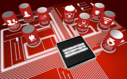 Information security threats circuit board german. Nine most severe future Information security threats circuit board concept render in german Stock Image