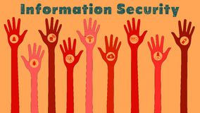 Information security threats concept illustration with red hands Royalty Free Stock Photo