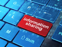 Information Sharing on computer keyboard Stock Image