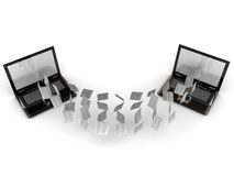 Information sharing concept. Two laptops sharing their information Royalty Free Stock Photography