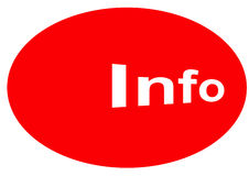 Information sign. A large red oval with the word Info for information Stock Photo