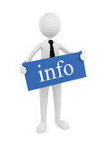 Information Sign. Man holding blue info sign; great for information concepts Royalty Free Stock Photo