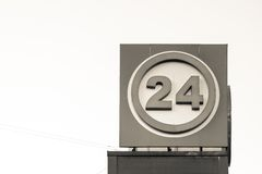 Information sign of beige color with number 24 Stock Images
