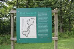 Information or Sign board at Fort Ancient. Fort Ancient State Memorial is a collection of Native American Earthworks which is located in Ohio, United States Royalty Free Stock Photo