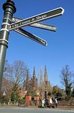 Information sign and Cathedral, Lichfield. Stock Photos