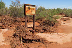Information sign in the desert Royalty Free Stock Images