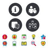 Information sign and group. Communication icons. Royalty Free Stock Photography