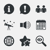 Information sign and group. Communication icons. Stock Image