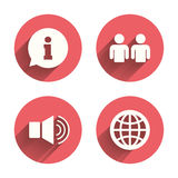 Information sign and group. Communication icons Stock Images
