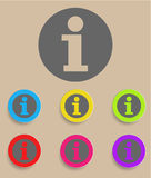 Information sign icon. Info speech bubble symbol. Round colourful buttons Stock Photo