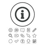 Information sign icon. Info symbol. Document, Chat and Paper clip line signs. Question, Pencil and Calendar line icons. Star, Download and Shopping cart Stock Images