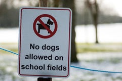 Information sign on school playing fields Stock Photo