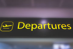 Information sign showing way to departures and security at Heath. London, England - may 30, 2017: Information sign showing way to departure gates at Heathrow Stock Photography