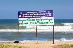 Information sign for visitors at Thiruvalluvar Nagar Beach stock photos