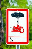 Information sign in woods on fire risk Stock Photography