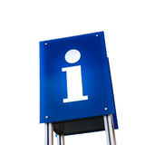 Information signboard blue shield on white Stock Image