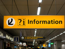 Information signs at Schiphol Amsterdam Airport, Holland Royalty Free Stock Photo