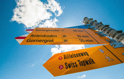 Information signs target to Gornergrat station. The Matterhorn view point and other signs stock image