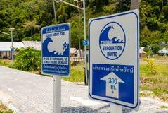 Information signs Tsunami Evacuation Royalty Free Stock Photos